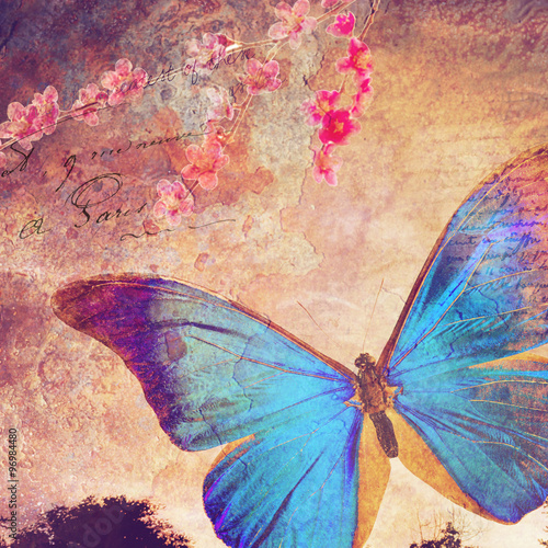 Photo sur Aluminium Papillons dans Grunge Blue butterfly old postcard