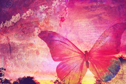 Deurstickers Vlinders in Grunge Pink butterfly old postcard
