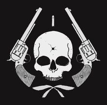 Wild West Skull With Bullet Ho...