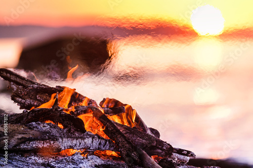 Campfire on the beach Canvas Print