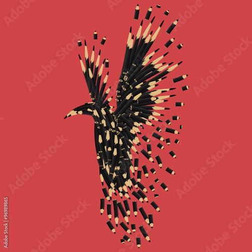 Poster Abstract black raven artwork. Black bird vector illustration.