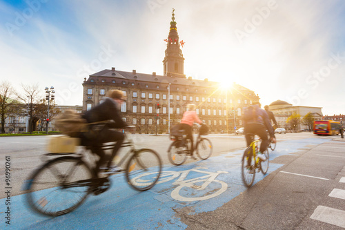 People going by bike in Copenhagen Canvas Print