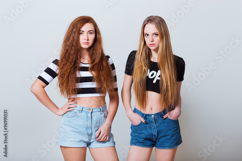 young girls in jean shorts