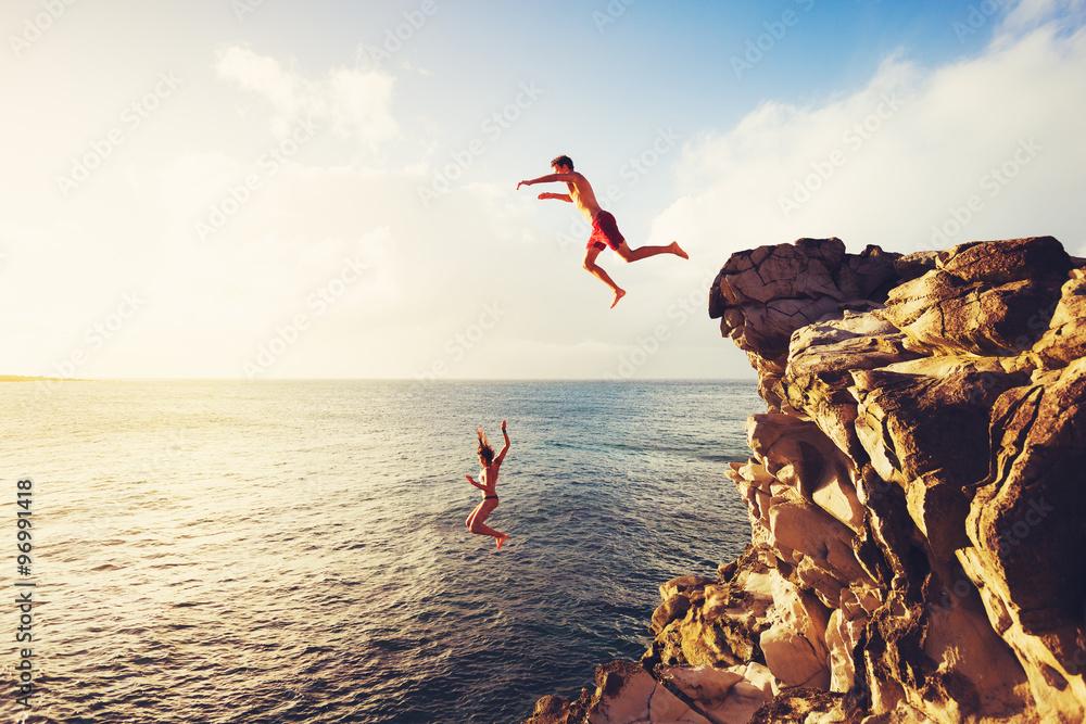 Fototapety, obrazy: Summer Fun, Cliff Jumping
