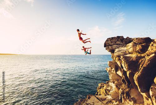 Obraz Summer Fun, Cliff Jumping - fototapety do salonu