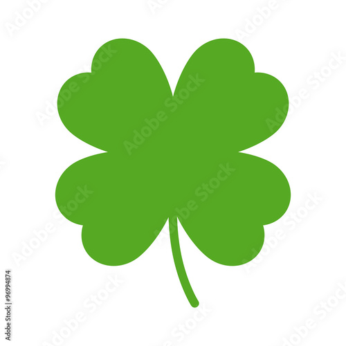 Fotografia, Obraz Good luck four leaf clover flat icon for apps and websites