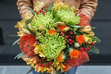 Autumn Bouquet Of Chrysanthemum, Carthamus, Nutans, Hypericum And Alstroemeria