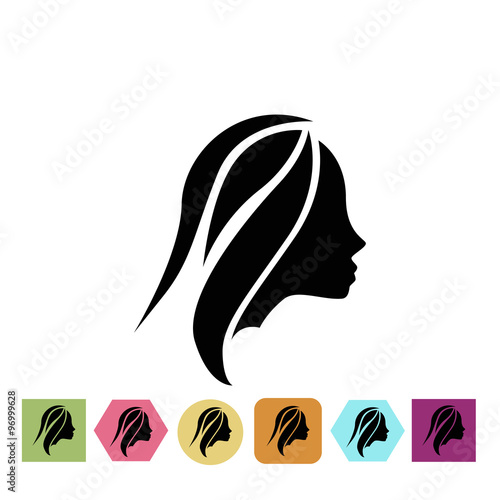 Girl styling hair icon #96999628