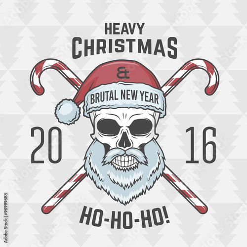 Heavy Metal Christmas.Bad Santa Claus Biker With Candies Print Design Vintage