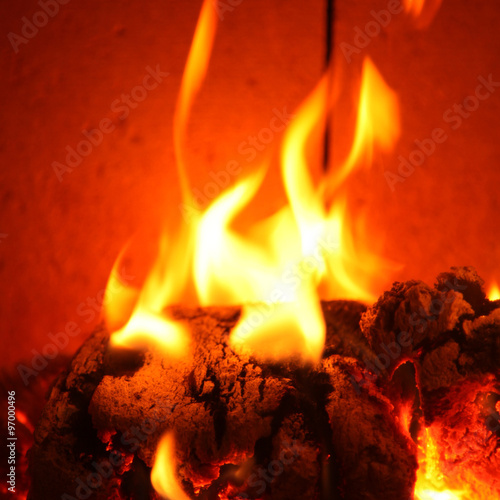 Poster Fire / Flame Schönes Kaminfeuer