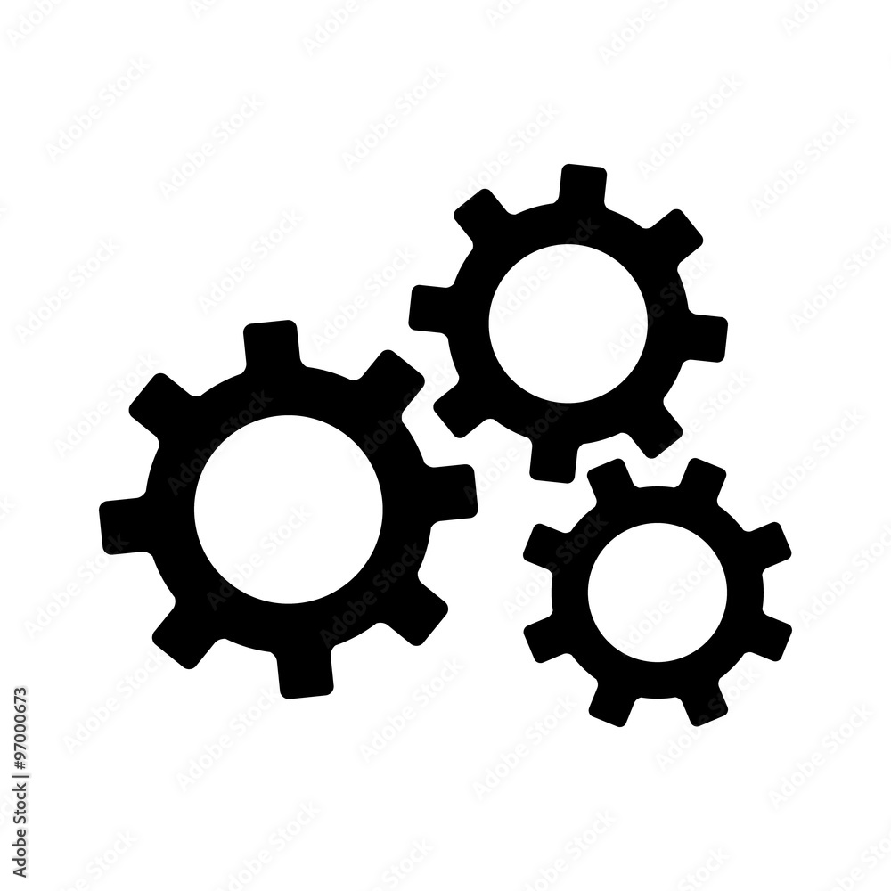 Fototapeta Settings gears (cogs) flat icon for apps and websites