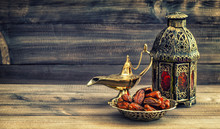 Ramadan Lamp And Dates On Wood...