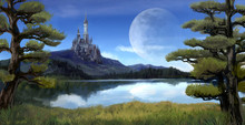 Fantasy Riverside Lake Forest Landscape With Ancient Castle On Hill Mountain Background And Blue Sky With Giant Moon Scene With Fairy Tale Myth.