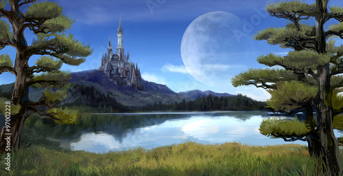 Fantasy riverside lake forest landscape with ancient castle on hill mountain background and blue sky with giant moon scene with fairy tale myth Poster