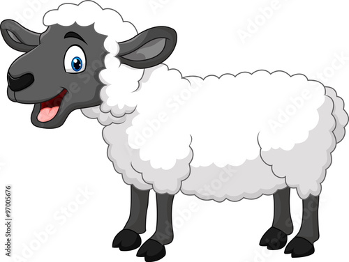 Fotomural Cartoon happy sheep posing isolated on white background