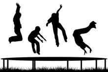 Children Silhouettes Jumping On Garden Trampoline