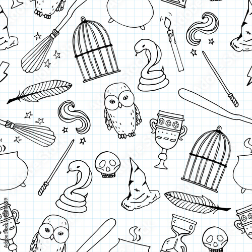 Different witch equipment. Seamless pattern