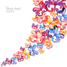 Vector Colorful Background With Flying Butterflies.