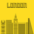 Big city day in a flat style. Buildings famous cities in the form of lines. Poster or banner for an event in the city - London. Big city in the Europe - London.