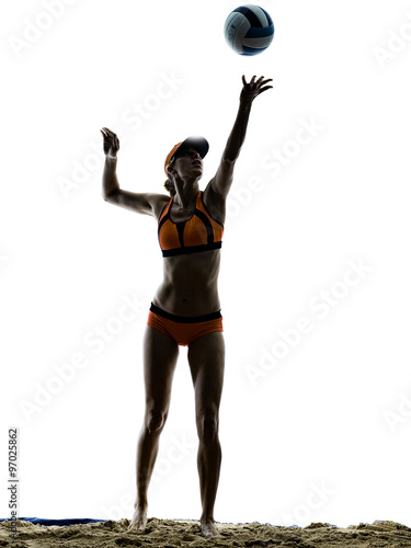 woman beach volley ball player silhouette Poster