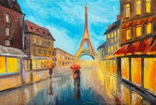 Oil Painting Of Eiffel Tower, ...