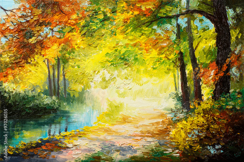 In de dag Geel Oil painting landscape - colorful autumn forest