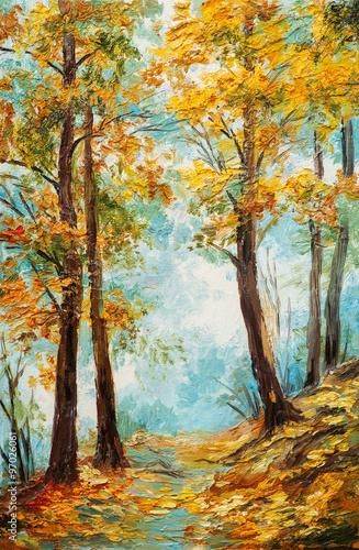 Poster Marron chocolat Oil painting landscape - colorful autumn forest