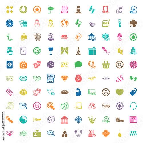 casino 100 icons universal set for web and mobile flat плакат