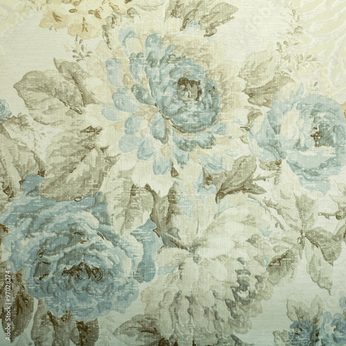 Deurstickers Vintage Bloemen Vintage wallpaper with blue floral victorian pattern