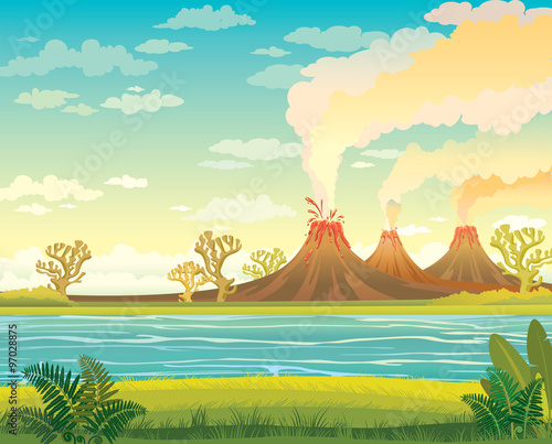 Fotomural Prehistoric landscape with lake and volcanoes.