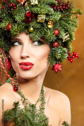 Beauty Fashion Model Girl With Christmas Tree Hairstyle Studio Buy