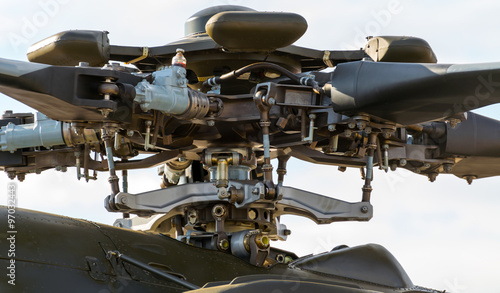 Tuinposter Helicopter The rotor mechanism of a helicopter