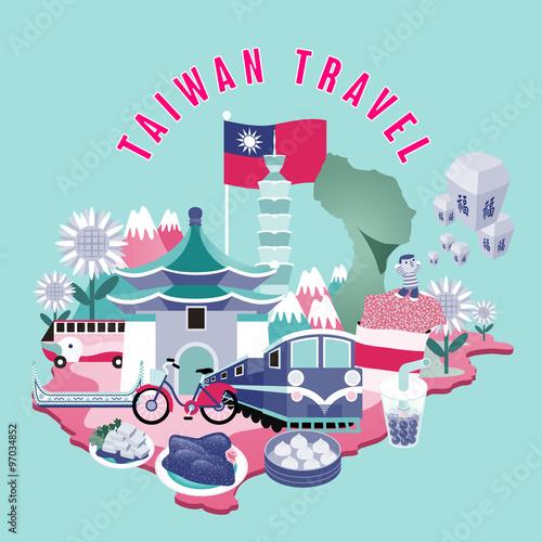 Aluminium Prints Green coral Taiwan travel concept illustration