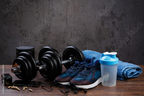 Photo  Different items for fitness