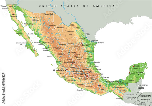 High detailed Mexico physical map with labeling. - Buy this ...