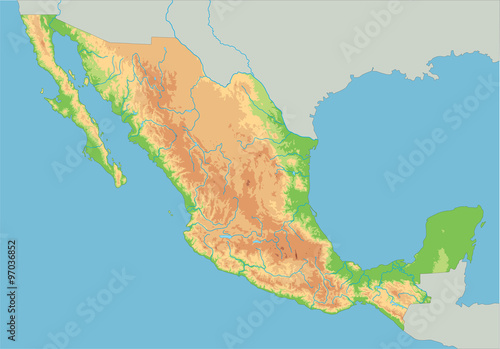 High detailed Mexico physical map. - Buy this stock vector and ...