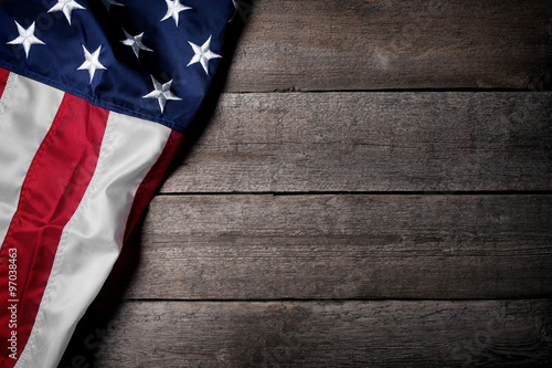 Flag of The USA on wooden background Canvas Print