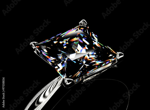 Tuinposter Gold Ring with Diamond. Jewelry background