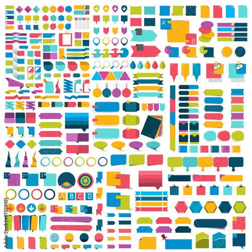 Fotografía  Mega set of infographics flat design elements, schemes, charts, buttons, speech bubbles, stickers