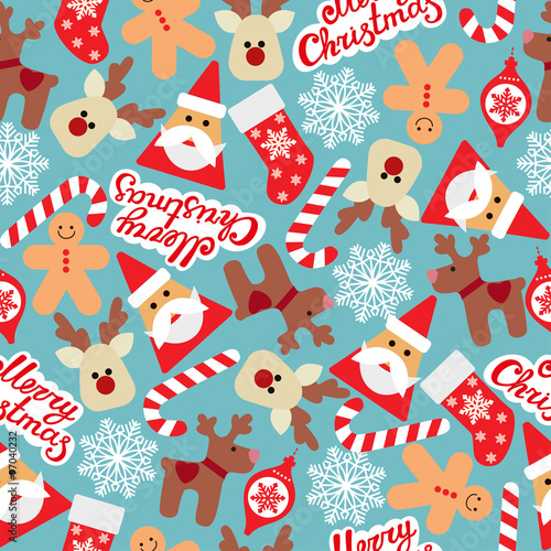 Cotton fabric Vector seamless flat pattern with icons of Happy New Year and Christmas Day