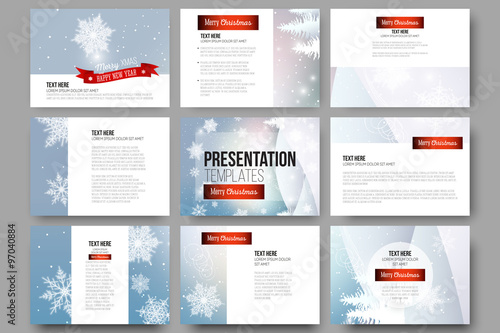 set of 9 templates for presentation slides merry christmas and happy new year vector background