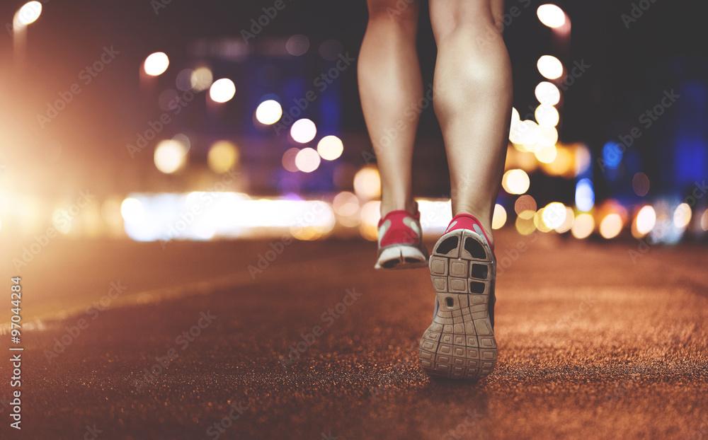 Female Legs running through urban setting