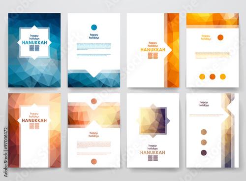 Fototapeta Set of brochure, poster design templates in Hanukkah style obraz
