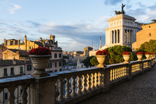 Sunset On Caffarelli Terrace In Rome, Italy