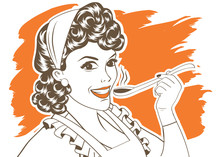 Pop Art Retro Woman With Apron...