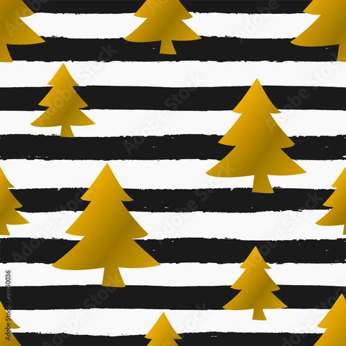 Stoffe zum Nähen Weihnachtsbäume und Streifen nahtlose Muster