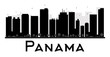 Panama City skyline black and white silhouette. Some elements have transparency mode different from normal