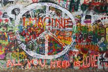 Colourfull Peace Graffiti On W...