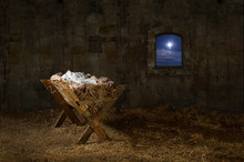 Manger In Old Barn With Window