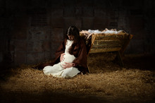 Mary And The Manger On Christm...